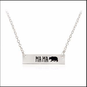 Mama Bear Necklace Dainty Silver Color